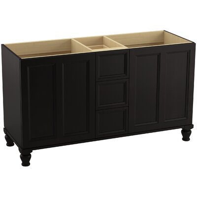 Damask 60 Vanity with Furniture Legs, 2 Doors and 3 Drawers, Split Top Drawer Finish: Batiste Black
