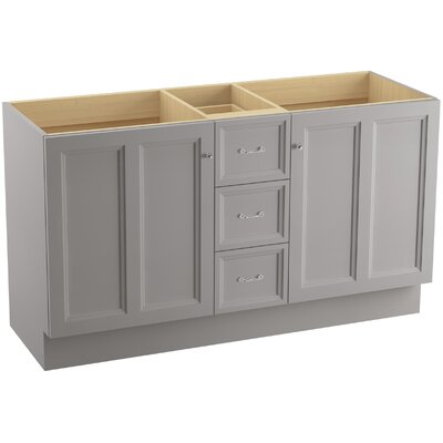 Damask� 60 Vanity with Toe Kick, 2 Doors and 3 Drawers, Split Top Drawer Finish: Mohair Grey