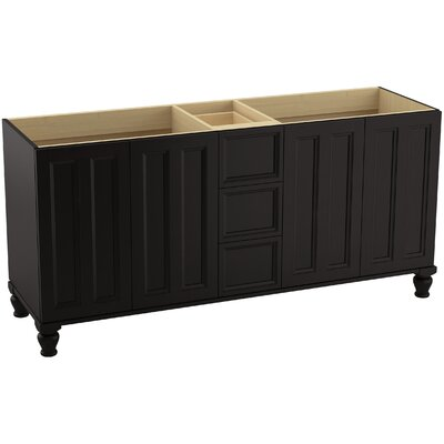 Damask 72 Vanity with Furniture Legs, 4 Doors and 3 Drawers, Split Top Drawer Finish: Batiste Black