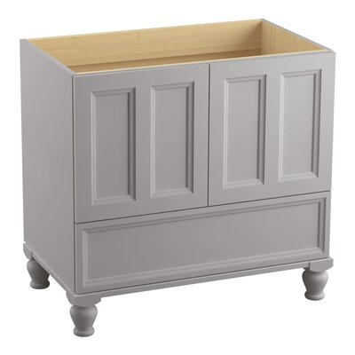 Damask Plains 36 Vanity with Furniture Legs, 2 Doors and 1 Drawer Finish: Mohair Grey