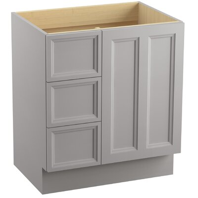 "Damask 30"" Vanity with Toe Kick, 1 Door and 3 Drawers on Left Finish: Mohair Grey"