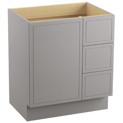 Jacquard� 30 Vanity with Toe Kick, 1 Door and 3 Drawers on Right Finish: Mohair Grey