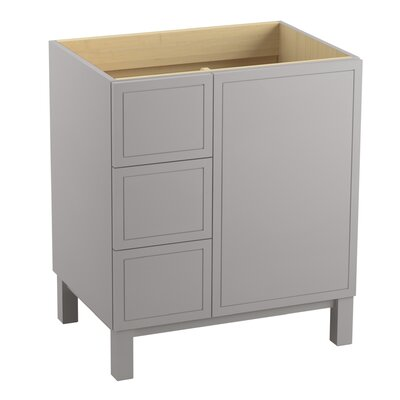 Jacquard� 30 Vanity with Furniture Legs, 1 Door and 3 Drawers on Left Finish: Mohair Grey
