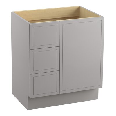 Jacquard� 30 Vanity with Toe Kick, 1 Door and 3 Drawers on Left Finish: Mohair Grey
