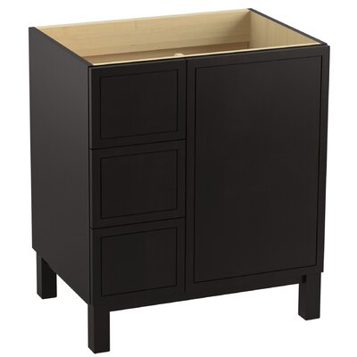 Jacquard 30 Vanity with Furniture Legs, 1 Door and 3 Drawers on Left Finish: Batiste Black