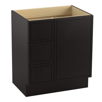 Jacquard 30 Vanity with Toe Kick, 1 Door and 3 Drawers on Left Finish: Batiste Black