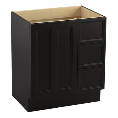 Damask� 30 Vanity with Toe Kick, 1 Door and 3 Drawers on Right Finish: Batiste Black