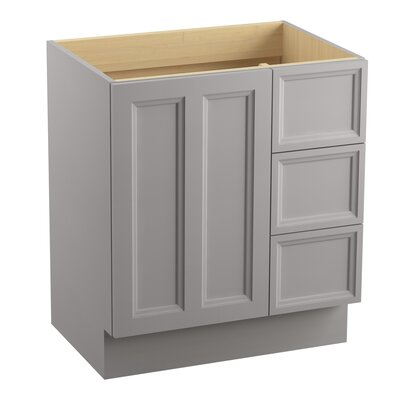 Damask� 30 Vanity with Toe Kick, 1 Door and 3 Drawers on Right Finish: Mohair Grey