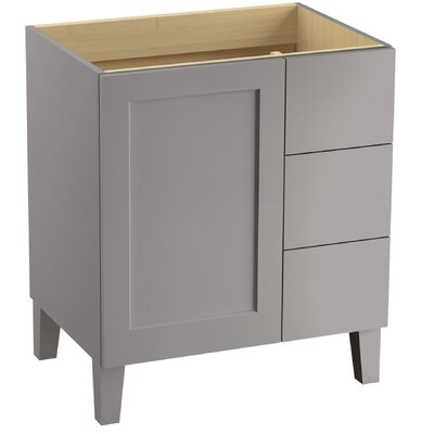 Poplin 30 Vanity with Furniture Legs, 1 Door and 3 Drawers on Right Finish: Mohair Grey