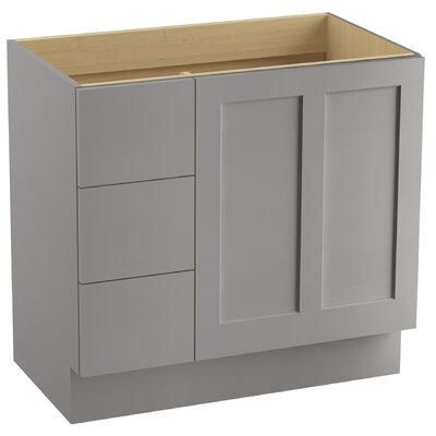 Poplin� 36 Vanity with Toe Kick, 1 Door and 3 Drawers on Left Finish: Mohair Grey
