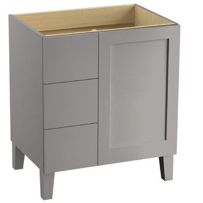 Poplin� 30 Vanity with Furniture Legs, 1 Door and 3 Drawers on Left Finish: Mohair Grey