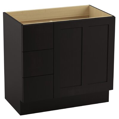 Poplin� 36 Vanity with Toe Kick, 1 Door and 3 Drawers on Left Finish: Batiste Black