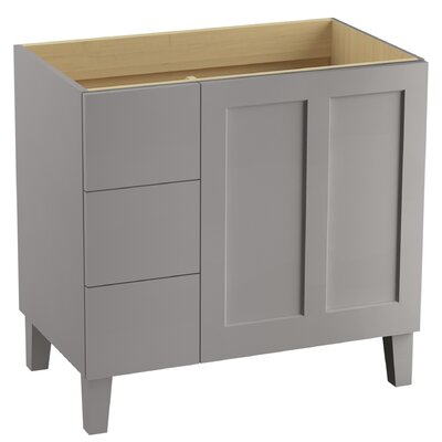 Poplin 36 Vanity with Furniture Legs, 1 Door and 3 Drawers on Left Finish: Mohair Grey