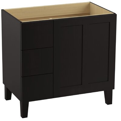 Poplin Tones 36 Vanity with Furniture Legs, 1 Door and 3 Drawers on Left Finish: Batiste Black
