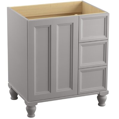 Damask� 30 Vanity with Furniture Legs, 1 Door and 3 Drawers on Right Finish: Mohair Grey