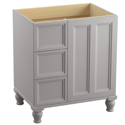 Damask 30 Vanity with Furniture Legs, 1 Door and 3 Drawers on Left Finish: Mohair Grey