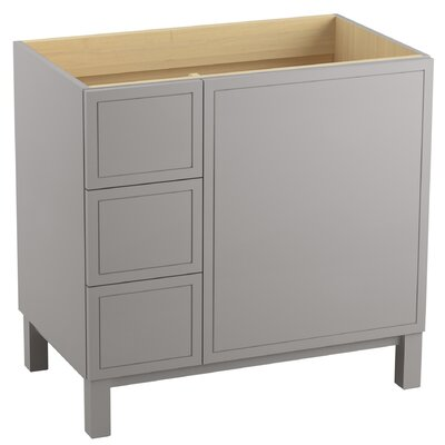Jacquard 36 Vanity with Furniture Legs, 1 Door and 3 Drawers on Left Finish: Mohair Grey