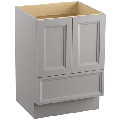 "Damask 24"" Vanity with Toe Kick, 2 Doors and 1 Drawer Finish: Mohair Grey"
