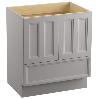 "Damask 30"" Vanity with Toe Kick, 2 Doors and 1 Drawer Finish: Mohair Grey"