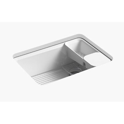 Riverby 27 x 22 x 9-5/8 under-mount single-bowl kitchen sink with accessories and 5 oversized faucet holes Finish: Ice Grey