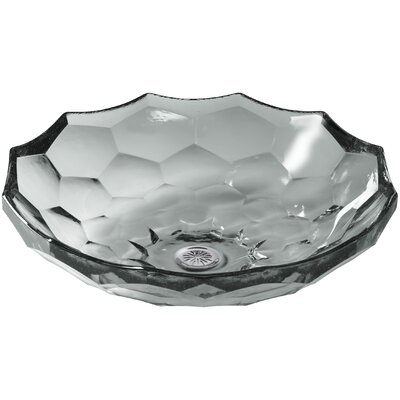 Briolette Glass Circular Vessel Bathroom Sink Finish: Translucent Stone