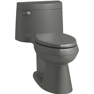 Cimarron Comfort Height One-Piece Elongated 1.28 GPF Toilet with AquaPiston Flush Technology, Concealed Trapway, and Left-Hand Trip Lever Finish: Thunder Grey