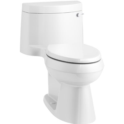 Cimarron Comfort Height One-Piece Elongated 1.28 GPF Toilet with AquaPiston Flush Technology, Concealed Trapway, and Right-Hand Trip Lever Finish: White