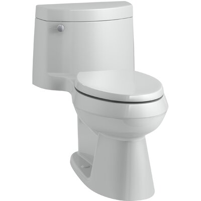 Cimarron Comfort Height One-Piece Elongated 1.28 GPF Toilet with AquaPiston Flush Technology, Concealed Trapway, and Left-Hand Trip Lever Finish: Ice Grey