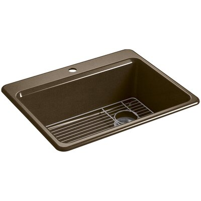 Riverby 27 x 22 Top Mount Single Bowl Kitchen Sink Finish: Black/Tan, Faucet Drillings: 1 Hole