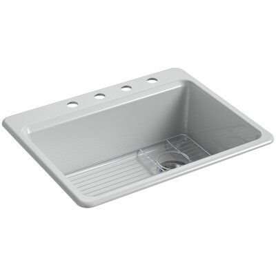 Riverby 27 x 22 Top Mount Single Bowl Kitchen Sink Finish: Ice Gray, Faucet Drillings: 4 Hole