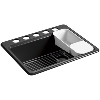 Riverby� 27 x 22 x 9-5/8 under-mount single-bowl kitchen sink with accessories and 5 oversized faucet holes Finish: Black Black