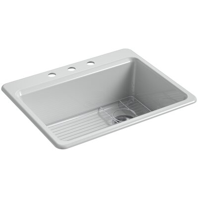 Riverby 27 x 22 Top Mount Single Bowl Kitchen Sink Finish: Ice Gray, Faucet Drillings: 3 Hole