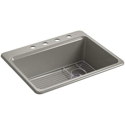 Riverby 27 x 22 Top Mount Single Bowl Kitchen Sink Finish: Cashmere, Faucet Drillings: 4 Hole
