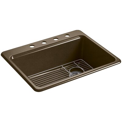 Riverby 27 x 22 Top Mount Single Bowl Kitchen Sink Finish: Black/Tan, Faucet Drillings: 4 Hole