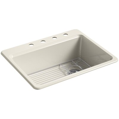 Riverby 27 x 22 Top Mount Single Bowl Kitchen Sink Finish: Almond, Faucet Drillings: 4 Hole