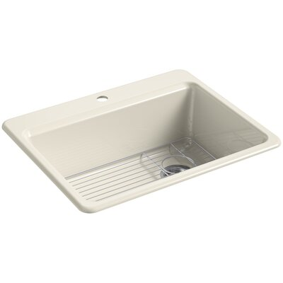 Riverby 27 x 22 Top Mount Single Bowl Kitchen Sink Faucet Drillings: 1 Hole, Finish: Almond