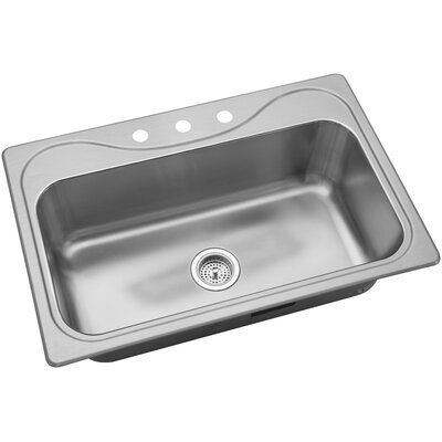 Southhaven 33 x 22 Single Bowl Kitchen Sink Faucet Drillings: 3 Hole
