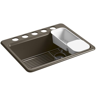 Riverby 27 x 22 x 9-5/8 under-mount single-bowl kitchen sink with accessories and 5 oversized faucet holes Finish: Suede