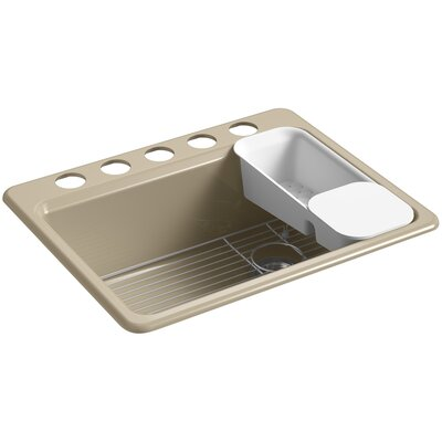 Riverby� 27 x 22 x 9-5/8 under-mount single-bowl kitchen sink with accessories and 5 oversized faucet holes Finish: Mexican Sand