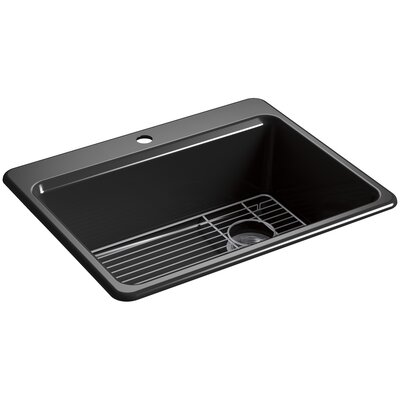 Riverby 27 x 22 Top Mount Single Bowl Kitchen Sink Finish: Black, Faucet Drillings: 1 Hole