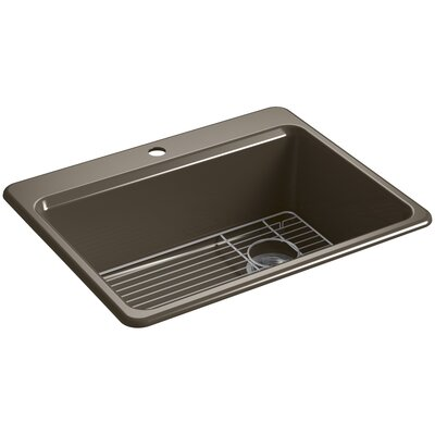 Riverby 27 x 22 Top Mount Single Bowl Kitchen Sink Finish: Suede, Faucet Drillings: 1 Hole