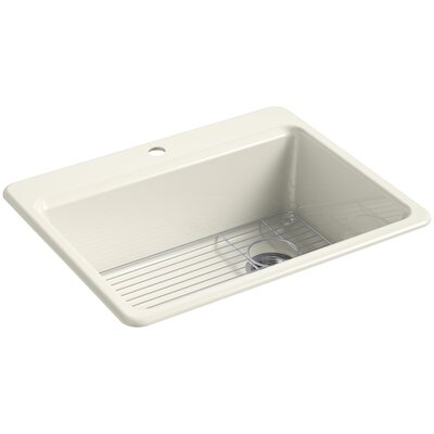 Riverby 27 x 22 Top Mount Single Bowl Kitchen Sink Finish: Biscuit, Faucet Drillings: 1 Hole