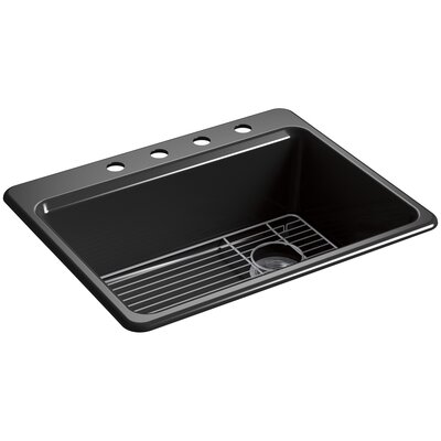 Riverby 27 x 22 Top Mount Single Bowl Kitchen Sink Finish: Black, Faucet Drillings: 4 Hole