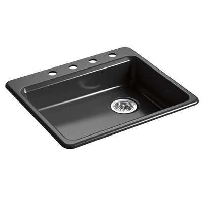 Riverby 25 x 22 Top Mount Single Bowl Kitchen Sink Finish: Black