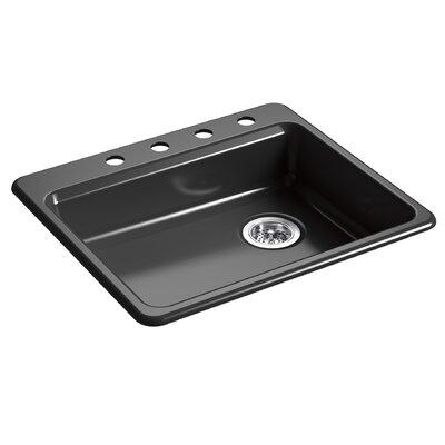 Riverby 25 x 22 Top Mount Single Bowl Kitchen Sink Finish: Black