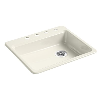 Riverby 25 x 22 Top Mount Single Bowl Kitchen Sink Finish: Biscuit