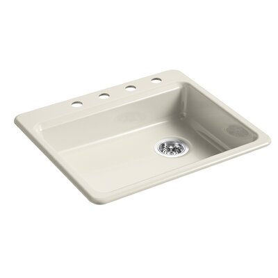 Riverby 25 x 22 Top Mount Single Bowl Kitchen Sink Finish: Cane Sugar