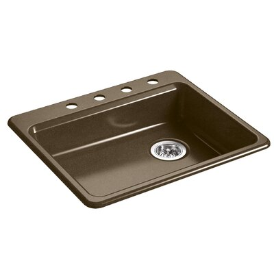 Riverby 25 x 22 Top Mount Single Bowl Kitchen Sink Finish: Black/Tan