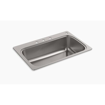 Verse 33 x 22 Top Mount Single Bowl Kitchen Sink Faucet Drillings: 4 Hole