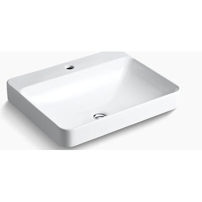 Vox Rectangular Vessel Bathroom Sink Finish: White, Faucet Hole Style: Single